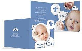 Dankeskarte Taufe Taufsymbole - Blau (K24)