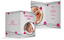 Dankeskarte Taufe Taufsymbole an Schnüren - Pink (K20)