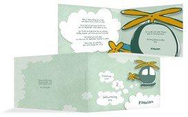 Einladungskarte Geburtstag Hubschrauber - Grün (K19)