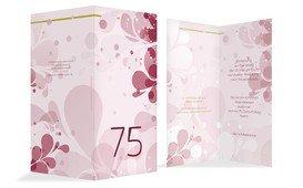 Geburtstagskarte Einladung Floral 75 - Rot (K35)