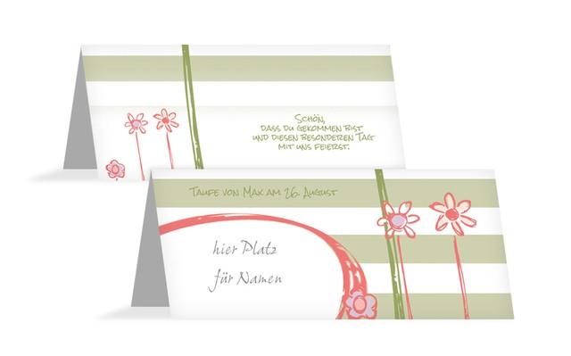Tischkarte Taufe Flowers and Stripes