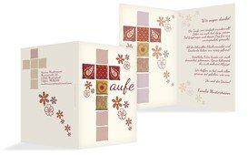 Dankeskarte Florales Kreuz - Rot (K20)