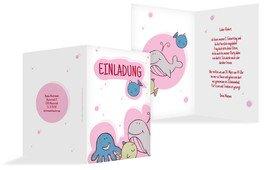 Geburtstagseinladung Unterwasserwelt - Pink (K20)