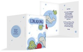 Geburtstagseinladung Unterwasserwelt - Blau (K20)