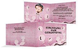 Geburtstagseinladung Tierchen Foto - Pink (K19)