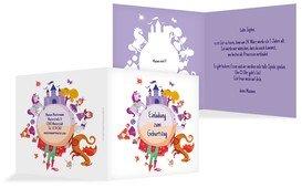 Geburtstagseinladung Traumprinzessin - Lila (K24)
