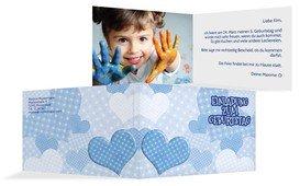 Geburtstagseinladung Herz mit Punkten Foto - Blau (K19)