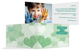 Geburtstagseinladung Herz mit Punkten Foto - Grün (K19)