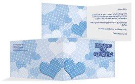 Geburtstagseinladung Herz mit Punkten - Blau (K19)