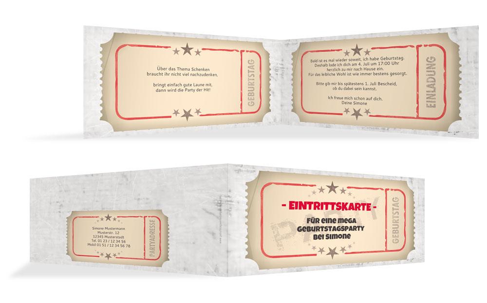 einladung zum geburtstag eintrittskarte kartenmanufaktur. Black Bedroom Furniture Sets. Home Design Ideas
