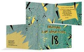 Einladung zum 18. Geburtstag Jeans Style - Grün (K19)