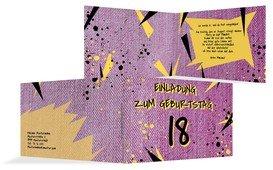 Einladung zum 18. Geburtstag Jeans Style - Pink (K19)