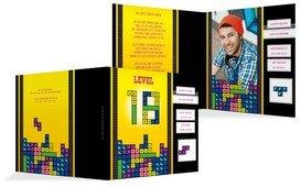 Einladung zum 18. Geburtstag 8bit Game Foto - Gelb (K24)
