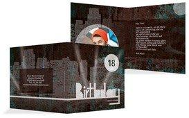 Einladung zum 18. Geburtstag City Lights Foto 18 - Türkis (K24)
