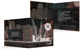 Einladung zum 18. Geburtstag City Lights 18 - Rot (K24)