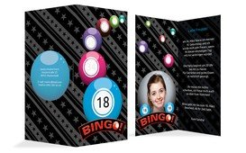 Einladung zum 18. Geburtstag Bingo Foto - Blau (K35)
