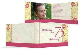 Einladung zum Geburtstag Hibiskus 75 Foto - Pink (K19)