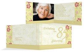 Einladung zum Geburtstag Hibiskus 85 Foto - Champagne (K19)