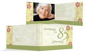 Einladung zum Geburtstag Hibiskus 85 Foto - Grün (K19)