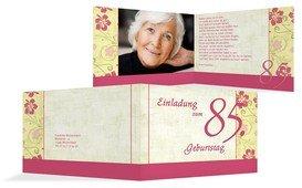 Einladung zum Geburtstag Hibiskus 85 Foto - Pink (K19)