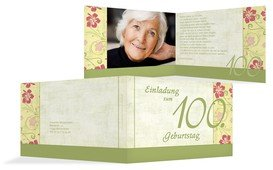 Einladung zum Geburtstag Hibiskus 100 Foto - Grün (K19)