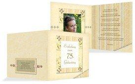 Geburtstagseinladungskarte Nostalgie 75 Foto - Champagne (K24)