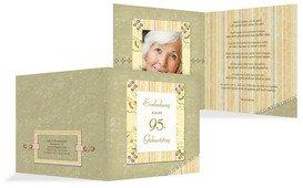 Geburtstagseinladungskarte Nostalgie 95 Foto - Grün (K24)