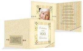 Geburtstagseinladungskarte Nostalgie 100 Foto - Champagne (K24)