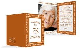Geburtstagseinladung florale Elemente 75 Foto - Orange (K20)