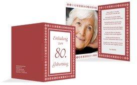 Geburtstagseinladung florale Elemente 80 Foto - Rot (K20)