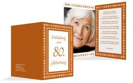 Geburtstagseinladung florale Elemente 80 Foto - Orange (K20)
