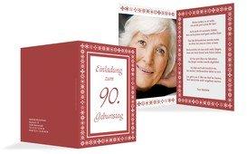 Geburtstagseinladung florale Elemente 90 Foto - Rot (K20)