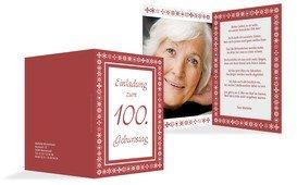 Geburtstagseinladung florale Elemente 100 Foto - Rot (K20)