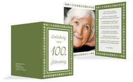 Geburtstagseinladung florale Elemente 100 Foto - Grün (K20)