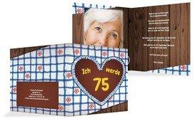 Geburtstagseinladungskarte Lebkuchenherz 75 Foto - Blau (K24)