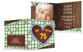 Geburtstagseinladungskarte Lebkuchenherz 75 Foto - Grün (K24)