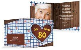 Geburtstagseinladungskarte Lebkuchenherz 80 Foto - Blau (K24)