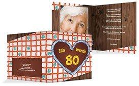 Geburtstagseinladungskarte Lebkuchenherz 80 Foto - Orange (K24)