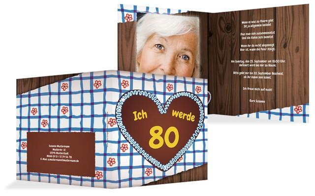 Geburtstagseinladungskarte Lebkuchenherz 80 Foto