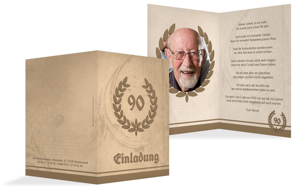 Einladungskarte Geburtstag Lorbeerkranz 90 Foto   Rot (K20)