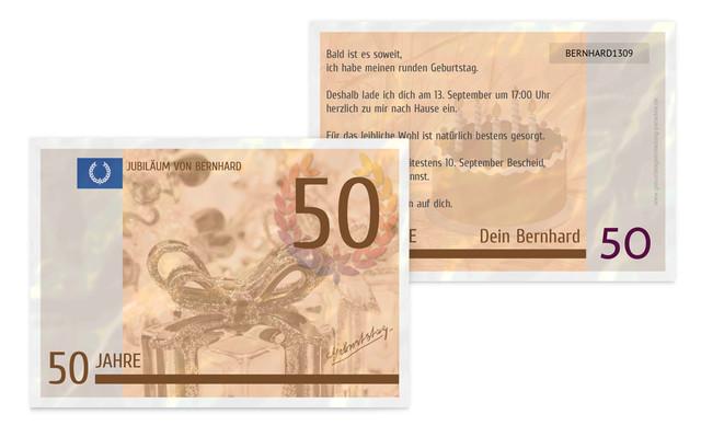 Einladungskarte zum Geburtstag Geldschein 50 - Braun (K25)