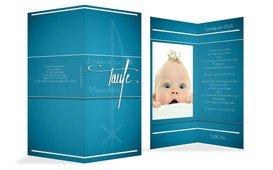 Einladungskarte zur Taufe Chi-Rho - Blau (K35)