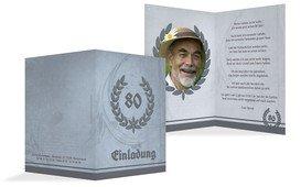 Einladungskarte Geburtstag Lorbeerkranz 80 Foto - Dunkelblau (K20)