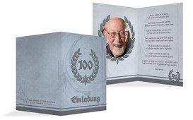 Einladungskarte Geburtstag Lorbeerkranz 100 Foto - Dunkelblau (K20)