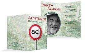 Geburtstagseinladungskarte Begrenzungsschild 80 Foto - Grün (K20)