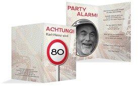 Geburtstagseinladungskarte Begrenzungsschild 80 Foto - Braun (K20)