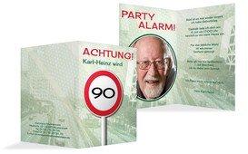 Geburtstagseinladungskarte Begrenzungsschild 90 Foto - Grün (K20)