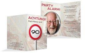 Geburtstagseinladungskarte Begrenzungsschild 90 Foto - Braun (K20)