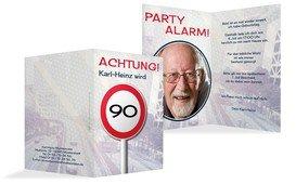 Geburtstagseinladungskarte Begrenzungsschild 90 Foto - Dunkelblau (K20)