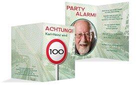 Geburtstagseinladungskarte Begrenzungsschild 100 Foto - Grün (K20)